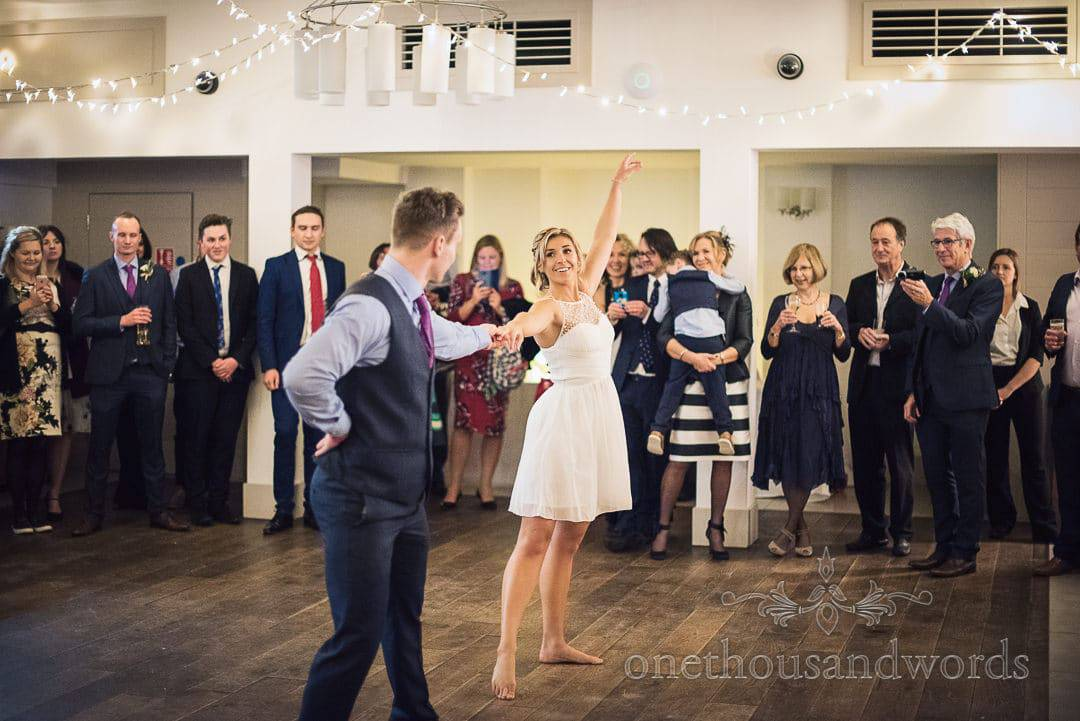 First dance in front of wedding guests at The Italian Villa Wedding Venue in Dorset