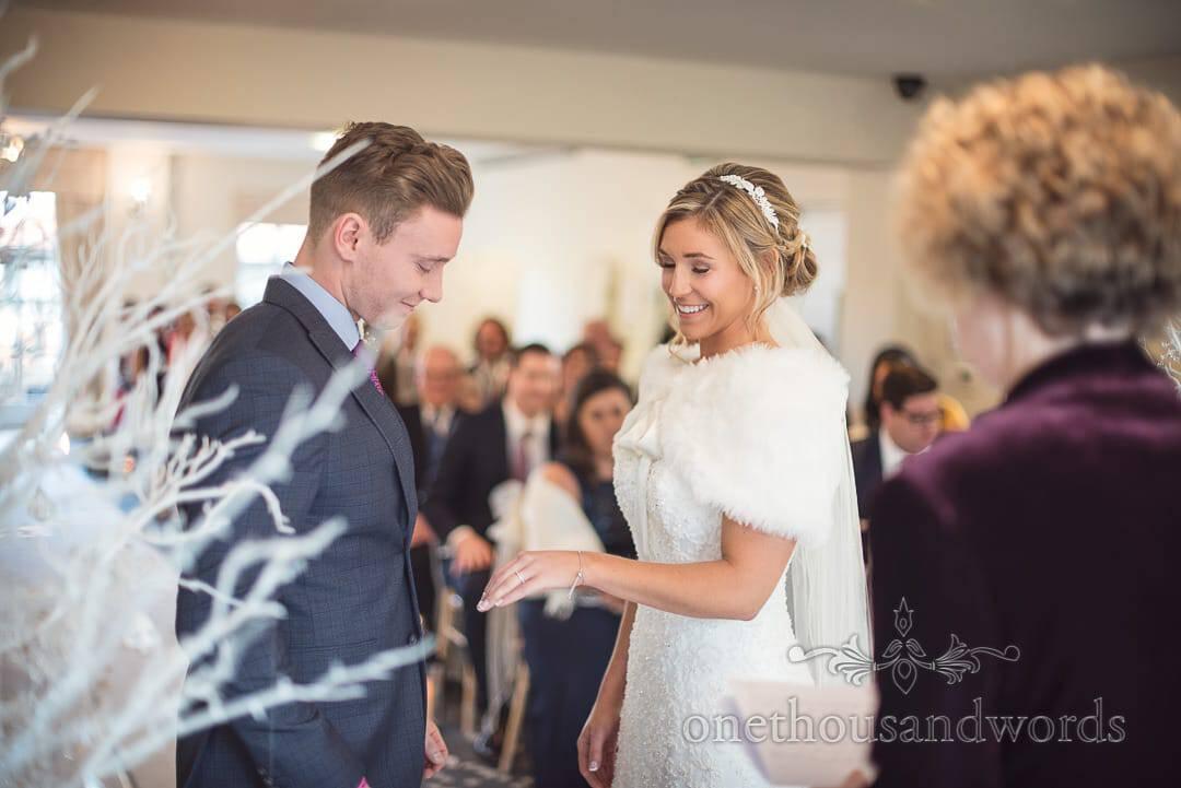 Italian Villa Wedding Venue photographs of exchange of rings during wedding ceremony