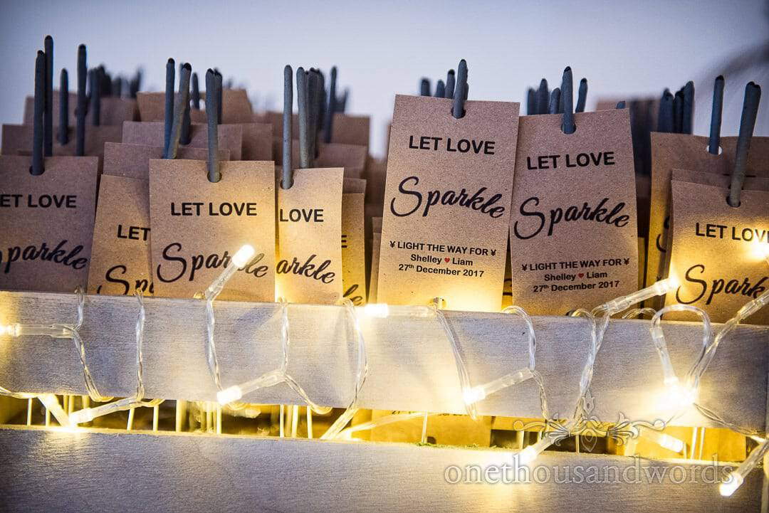 Let Love Sparkle personalised wedding sparklers with fairy lights in wooden box