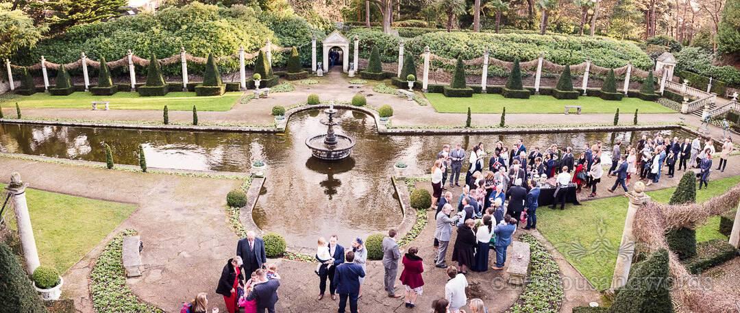 Panoramic of the gardens at The Italian Villa Wedding photographs drinks reception