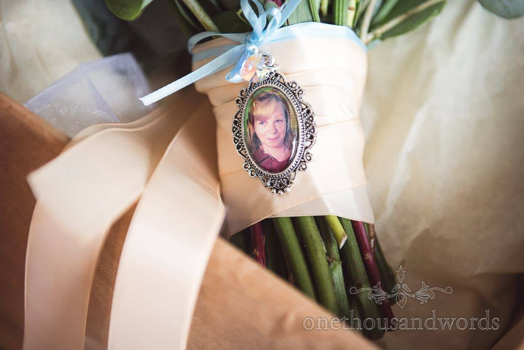 Photographic tribute to mother on brides bouquet from Italian Villa wedding