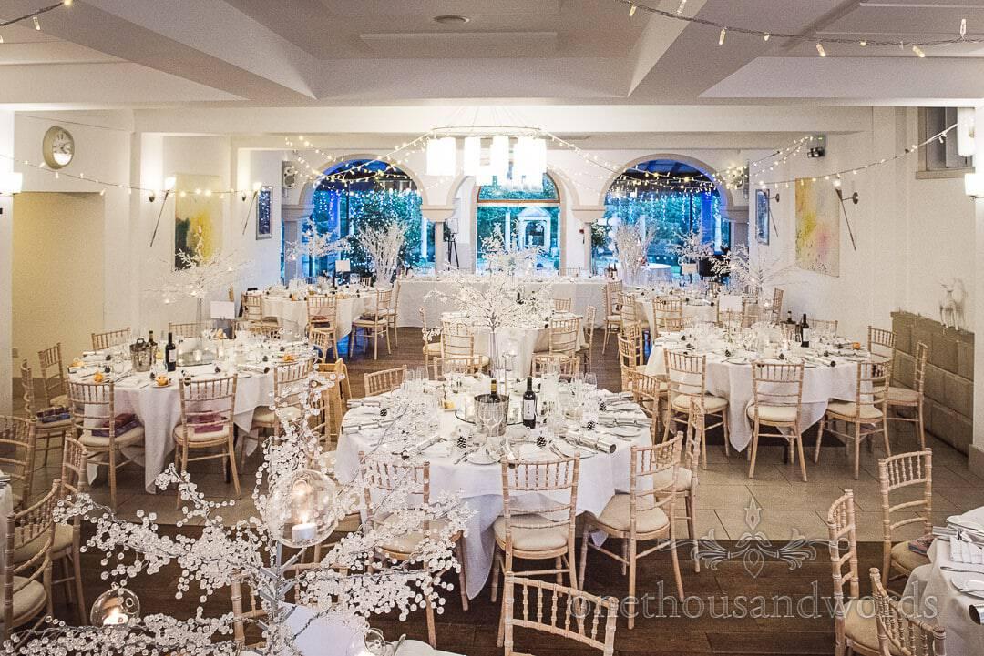 The Italian Villa Wedding Venue Photographs set up for winter wonderland wedding breakfast