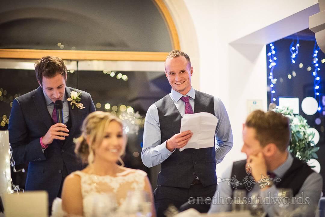 Two best men make best men's speeches at Italian Villa Wedding breakfast