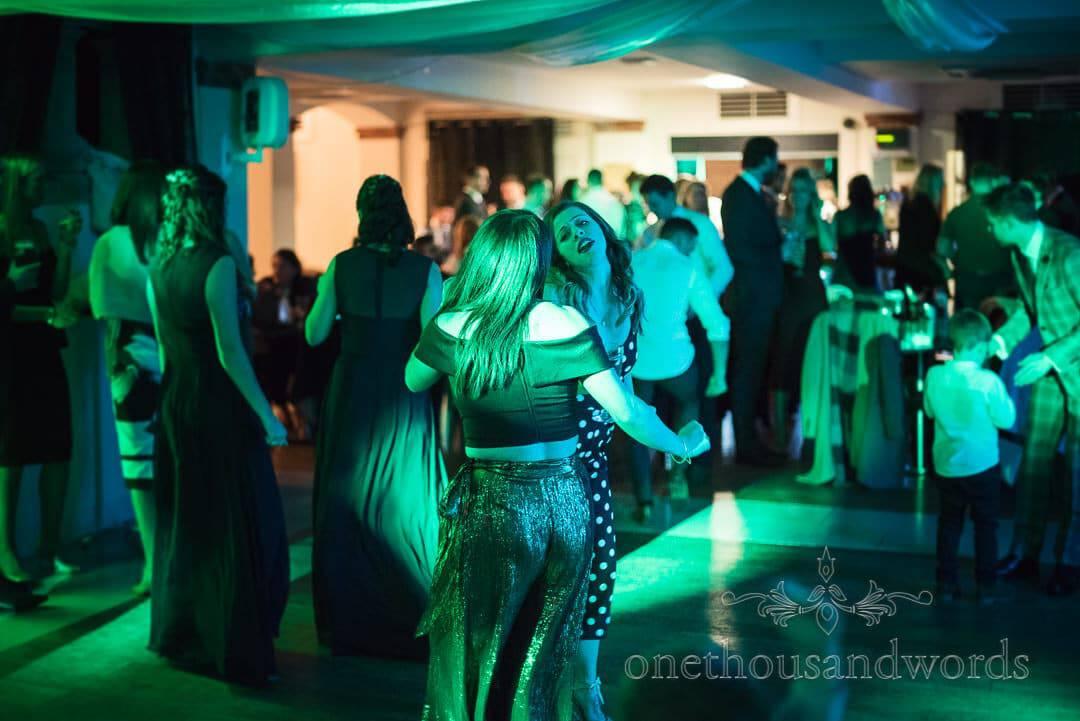 Wedding guests dancing to wedding DJ at Italian Villa wedding venue photographs