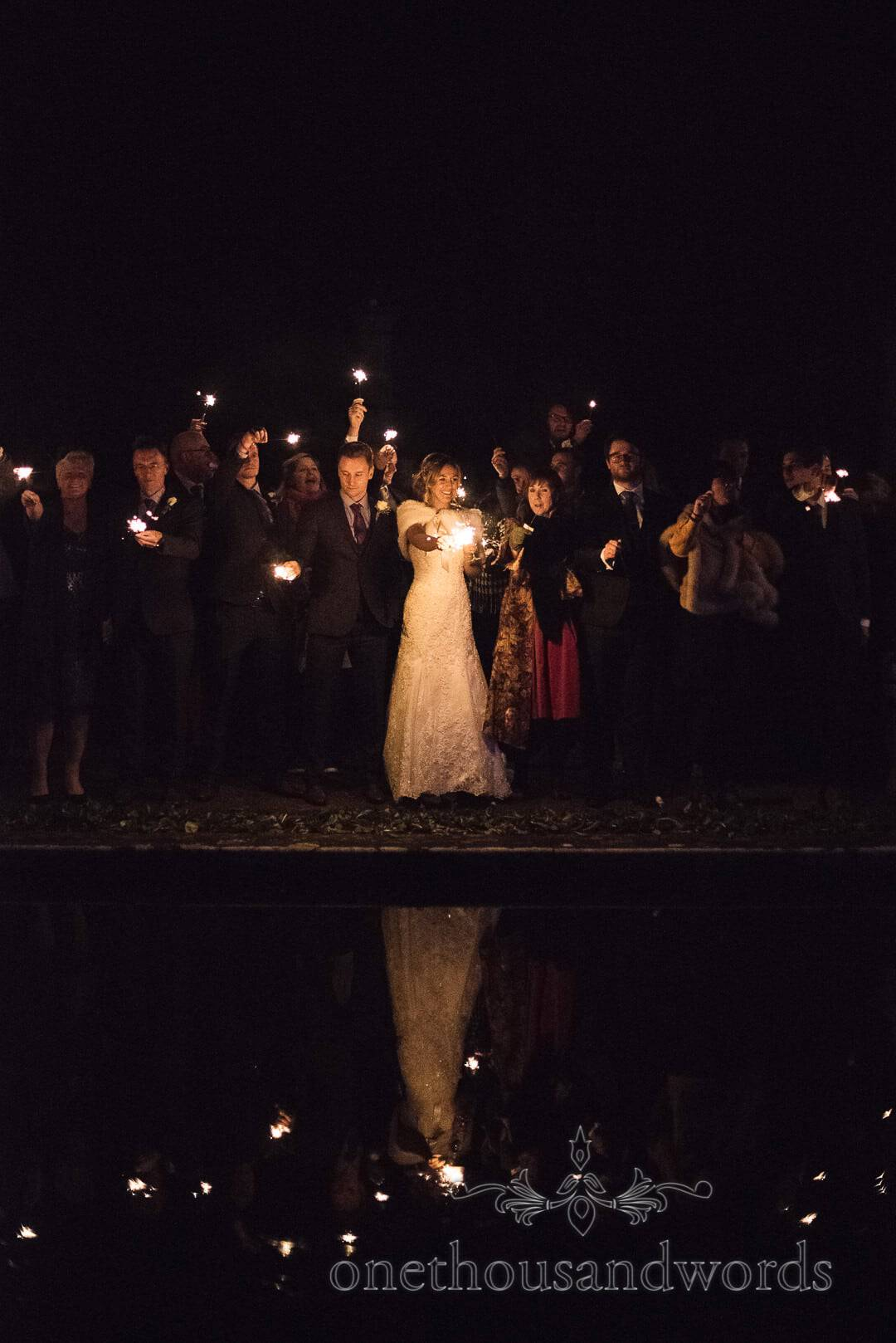 Wedding Sparklers reflection at The Italian Villa Wedding Venue Photographs