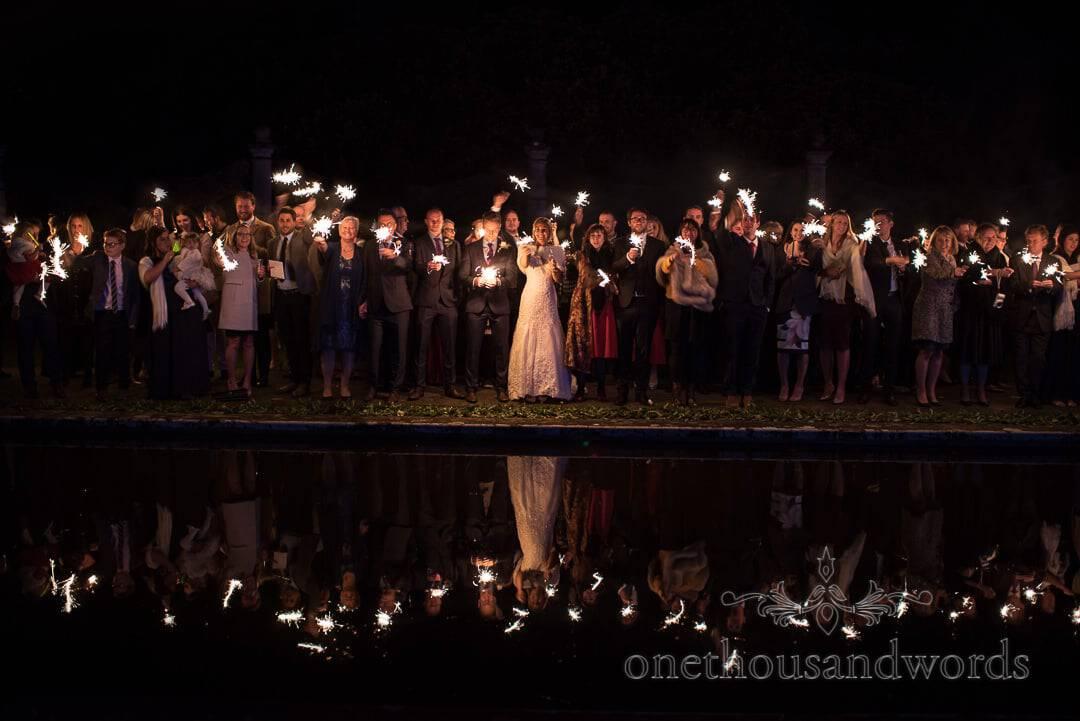 Wedding Wedding Sparklers reflection at The Italian Villa Wedding Venue in Dorset