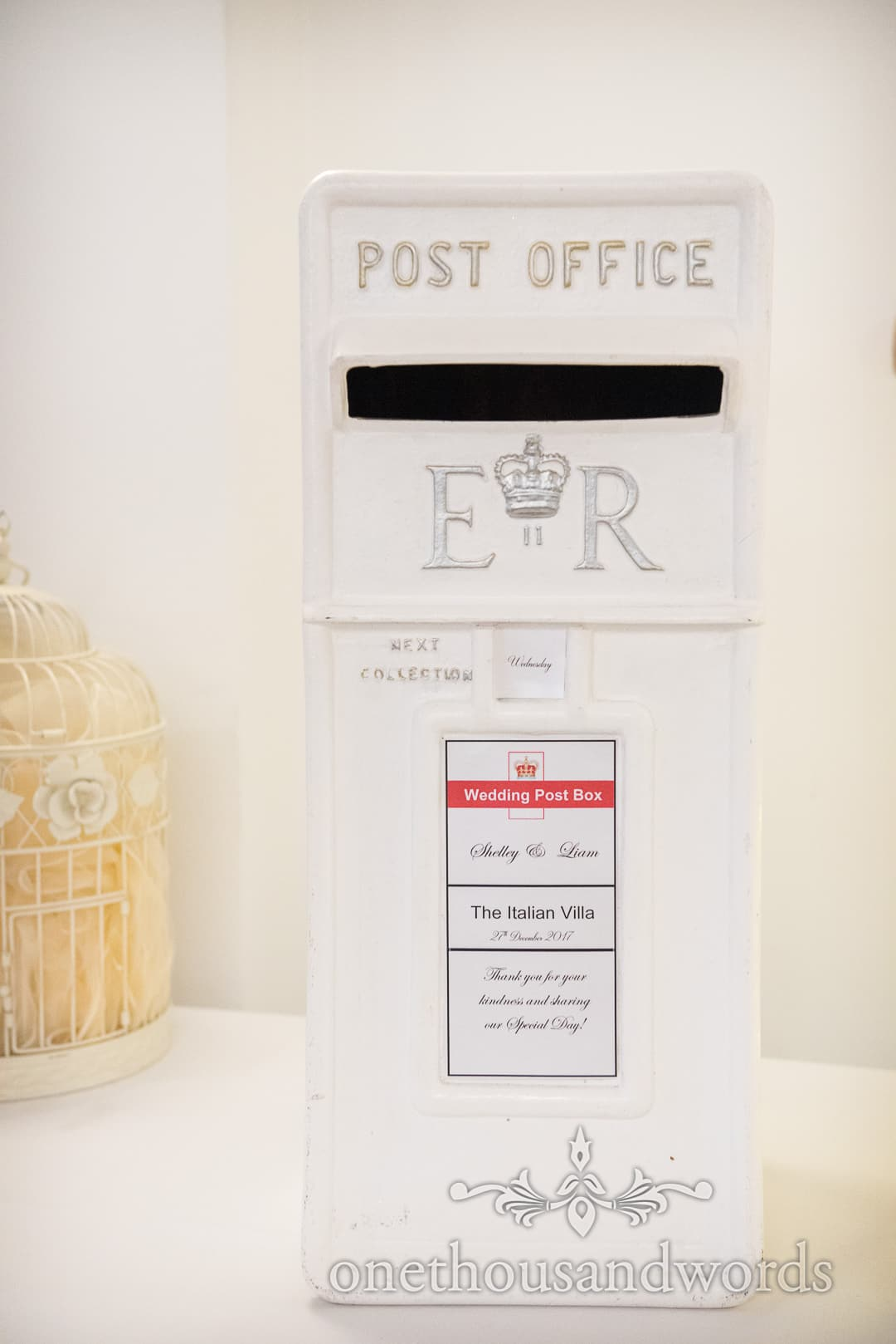 White wedding post office box with personalised name plate for wedding cards