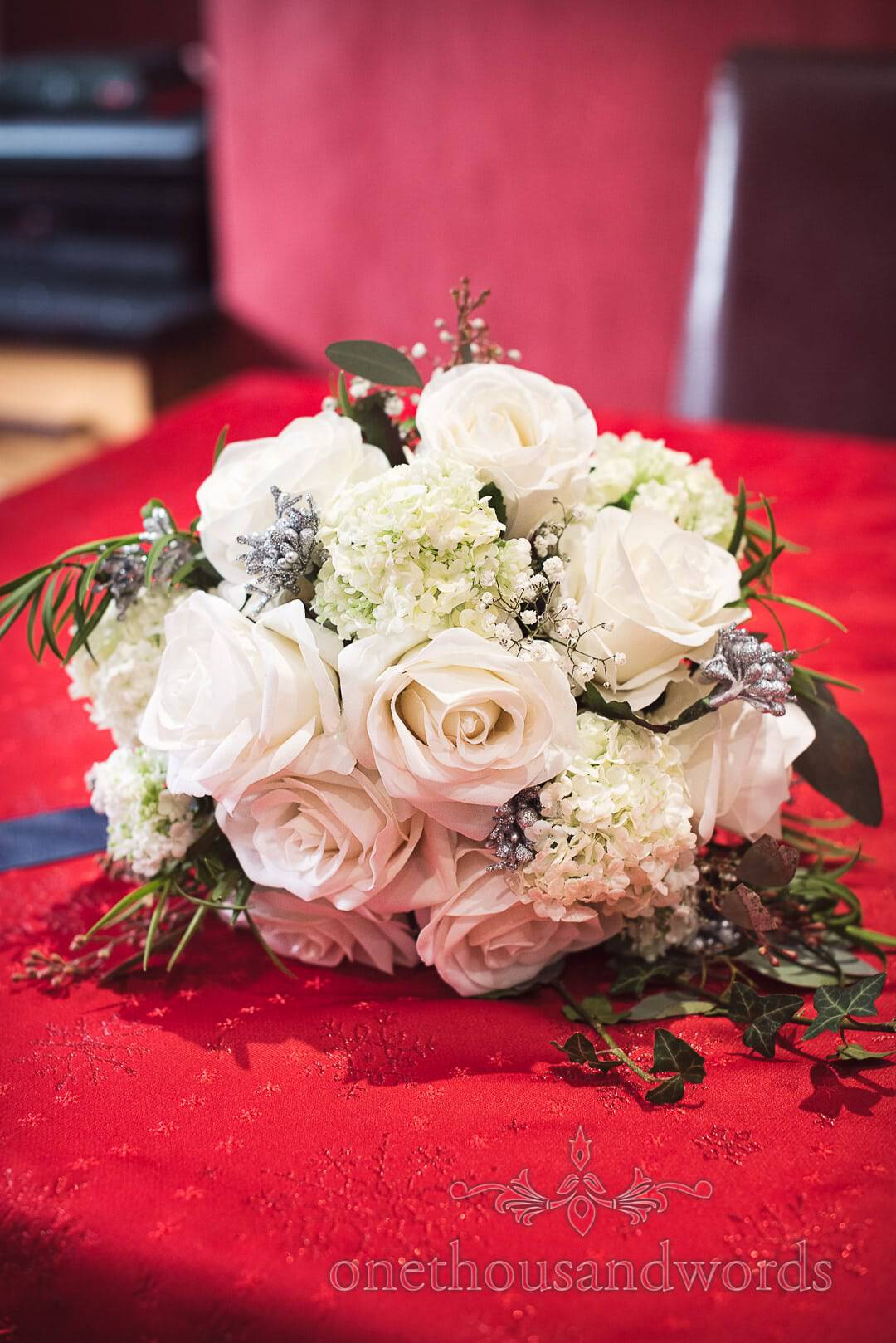 White Winter Wonderland Wedding Bouquet with real foliage and silk flowers