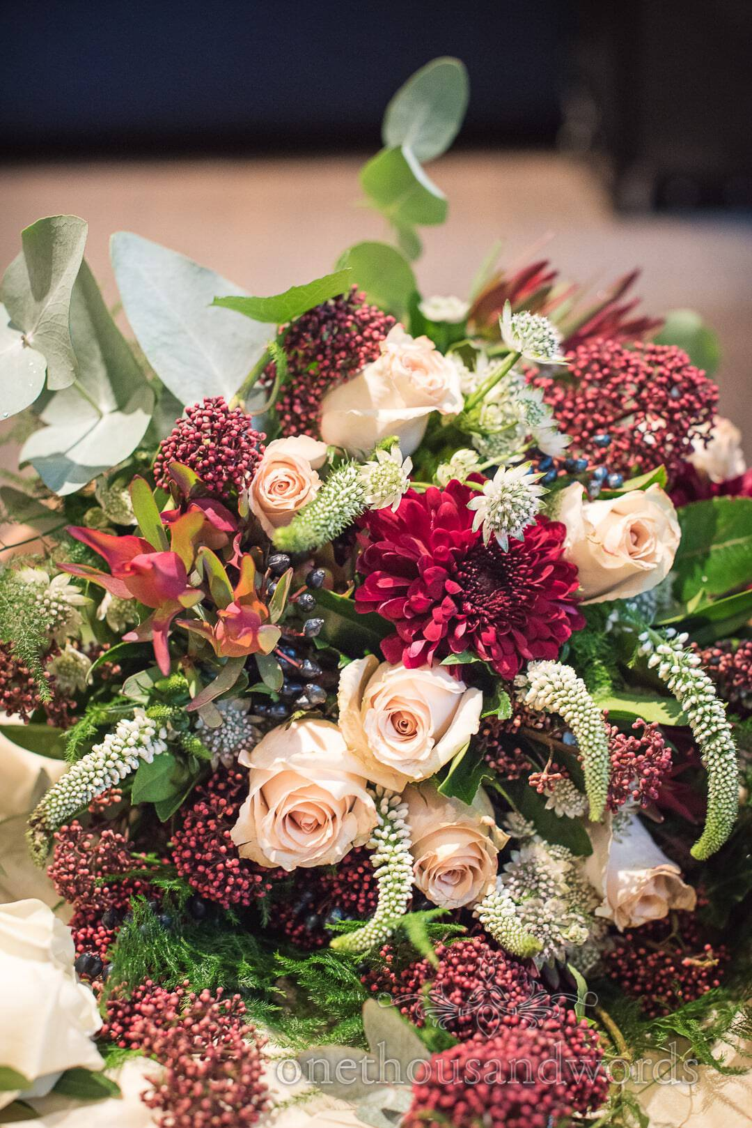 Wine, pink and green bridal bouquet from Italian Villa wedding photos