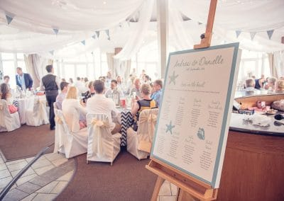 Beach themed wedding table plan at Sandbanks Hotel wedding breakfast