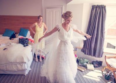 Bridal preparations at Rudds Hotel in Lulworth for Lulworth Castle wedding
