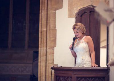 Bridal wedding speech from church pulpit during Plush Manor wedding breakfast