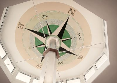 Compass ceiling print in the compass room at Sandbanks Hotel Wedding Venue