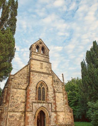 De consecrated stone church wedding reception venue at Plush Manor in Dorset