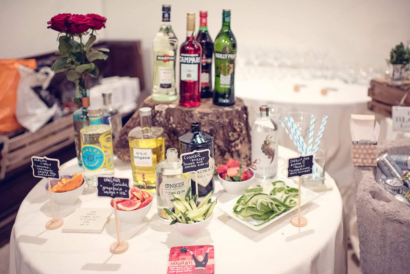 Gin and drinks table in Plush Manor church wedding evening reception photo