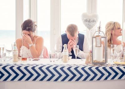 Sandbanks Hotel Wedding Photographers Capture grooms reaction to speeches
