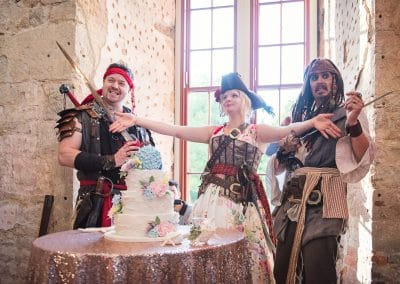 Jack Sparrow at Lulworth Castle pirate wedding photographs by one thousand words