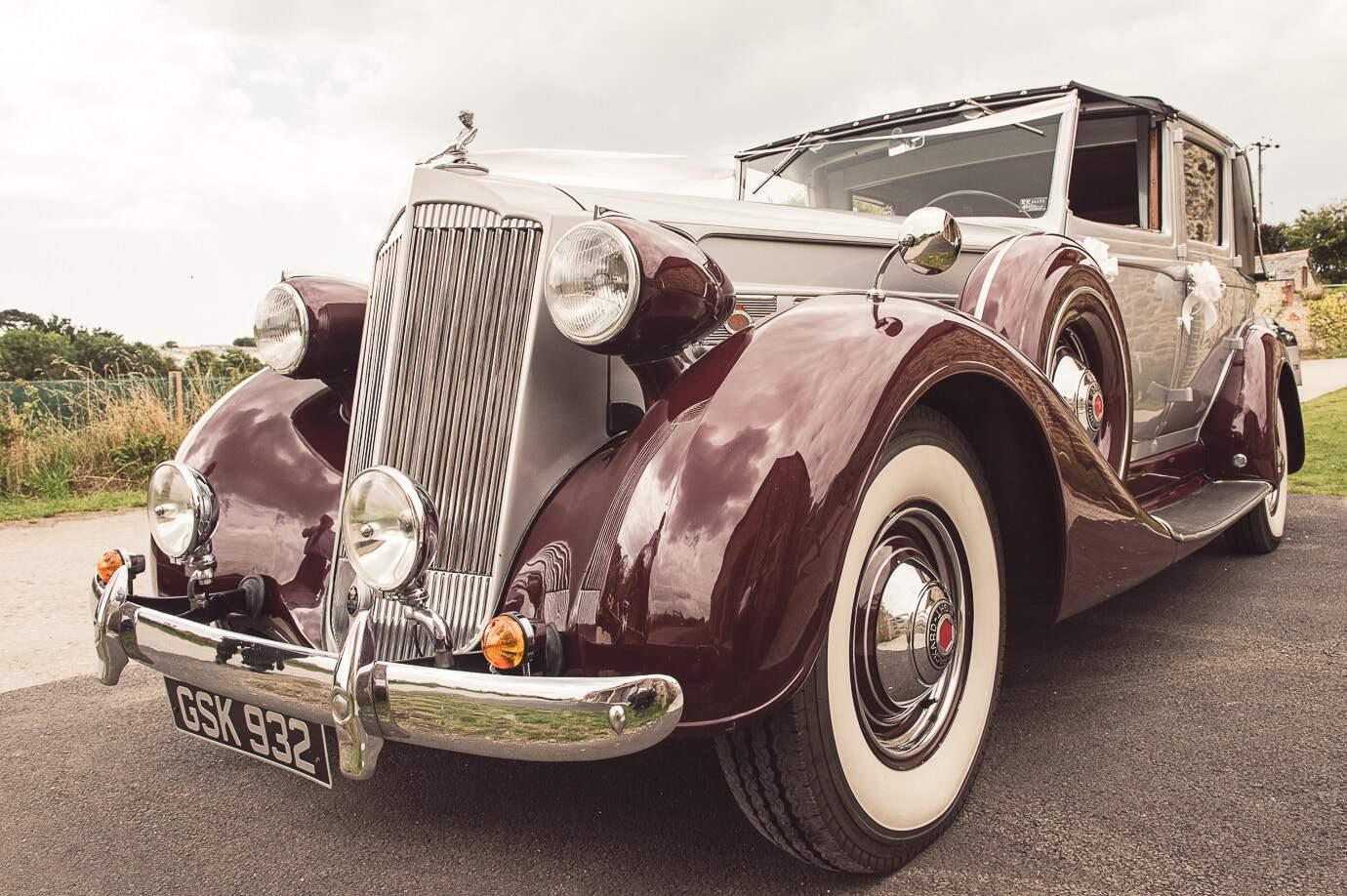 Packard Super Eight wedding car photo by Lulworth Castle wedding photographers