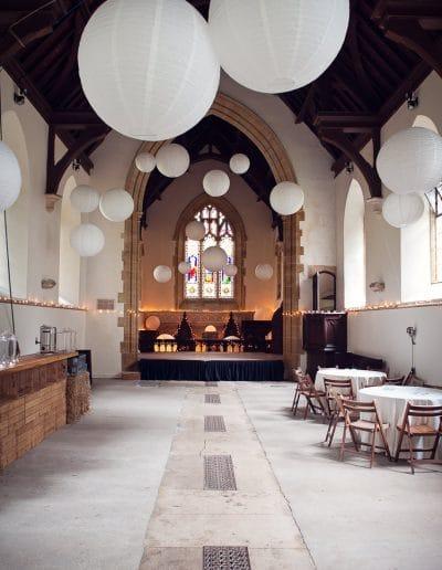 Plush Manor church wedding evening wedding reception venue with Chinese lanterns