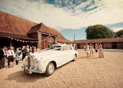 Rolls Royce Wedding car Stockbridge Farm Barn wedding photographers