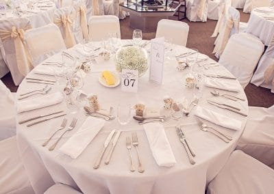 Sandbanks Hotel beach themed wedding table decorated for wedding breakfast