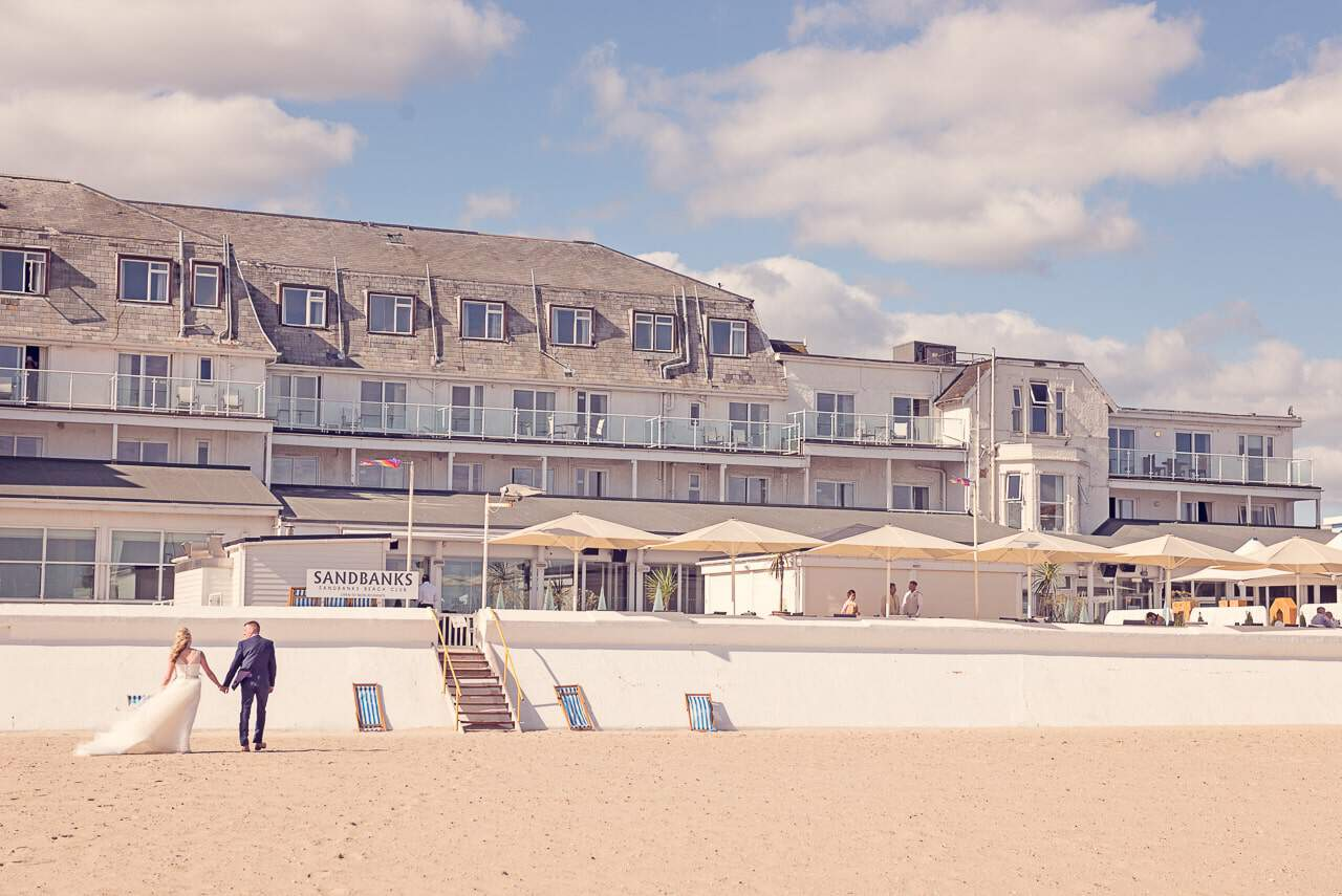 Sandbanks Hotel Wedding photographers capture beach wedding venue in Dorset