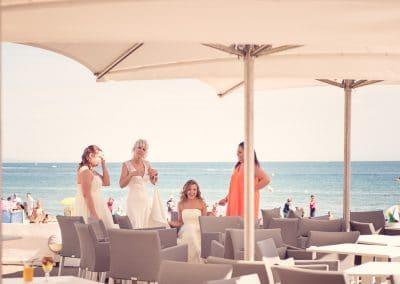 Sandbanks Hotel Wedding Photographers capture Bride by the sea side venue