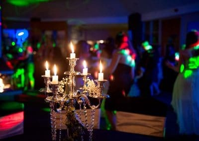 Silver candelabra at Sandbanks Hotel wedding venue evening disco dancing
