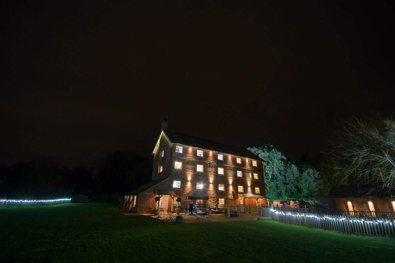 Sopley Mill wedding venue photographers capture wedding venue at night