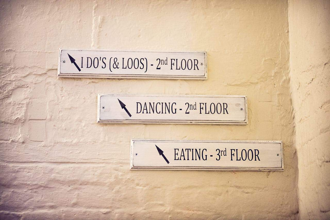 Sopley Mill wedding venue retro floor signage