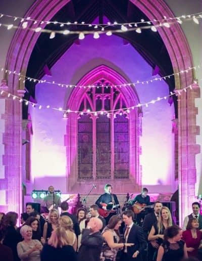 Wedding band plays in old English stone church at Plush Manor wedding in Dorset