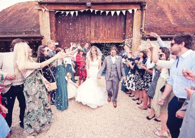 Wedding confetti photograph at Stockbridge Farm Barn Wedding venue