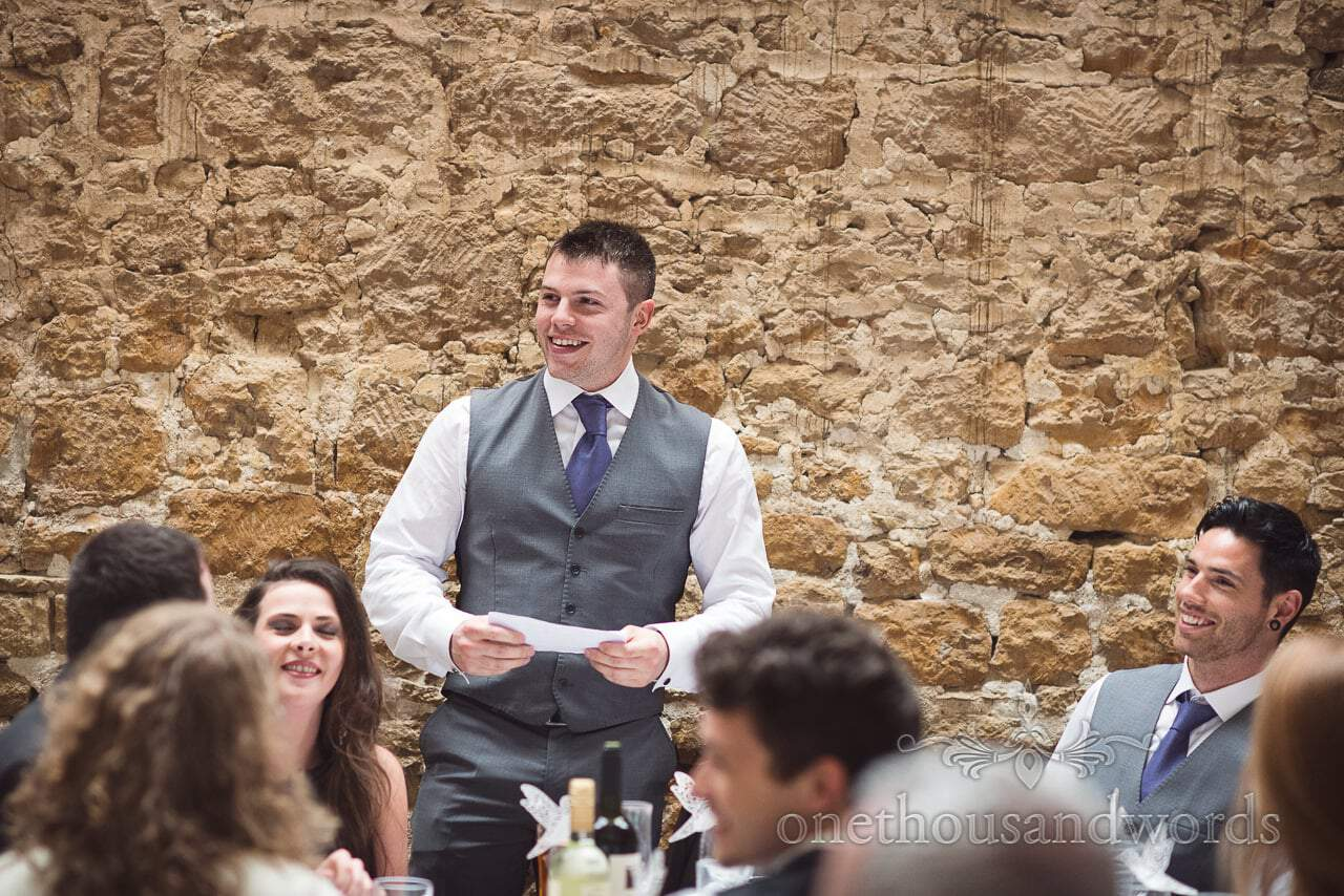 Best man delivers speech at Tithe Barn Symondsbury Wedding
