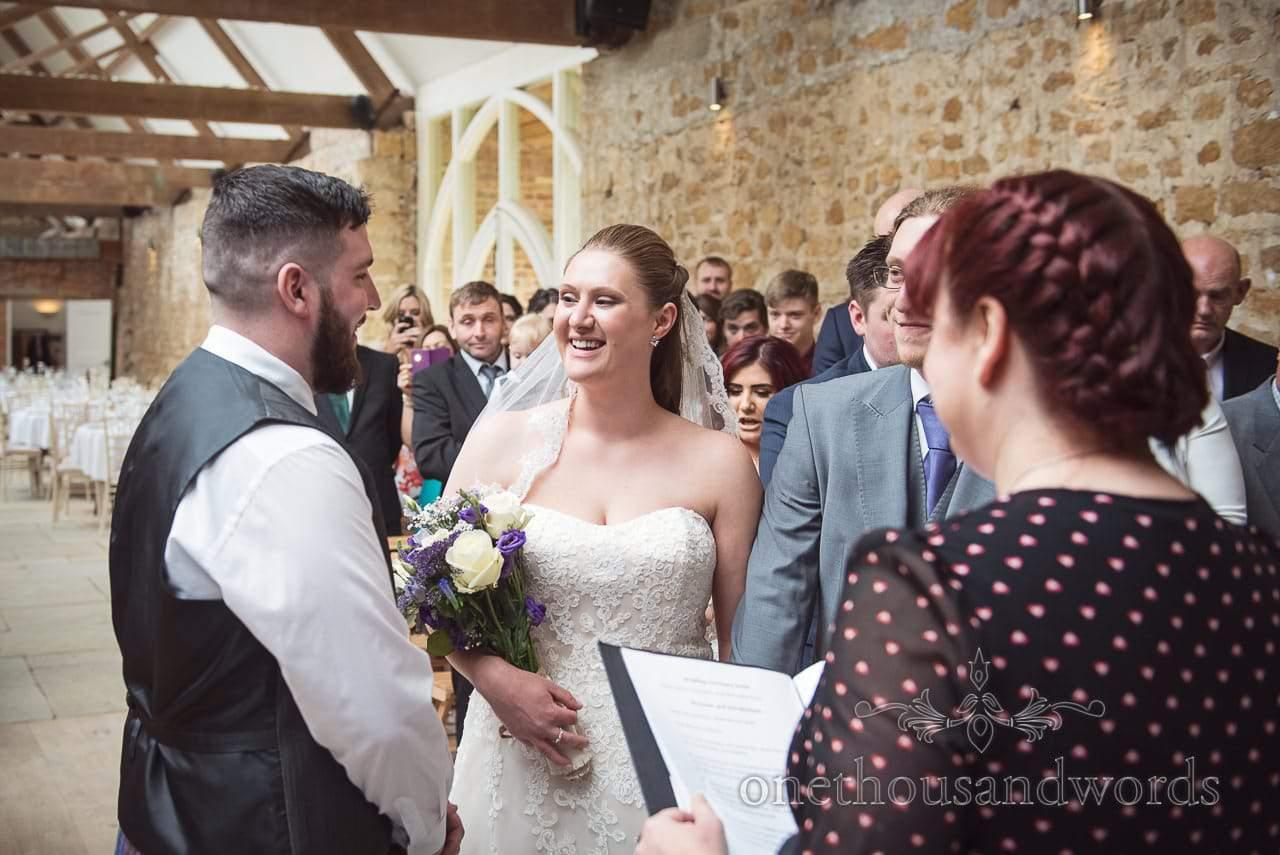 Bride is given away at Tithe Barn Symondsbury Wedding