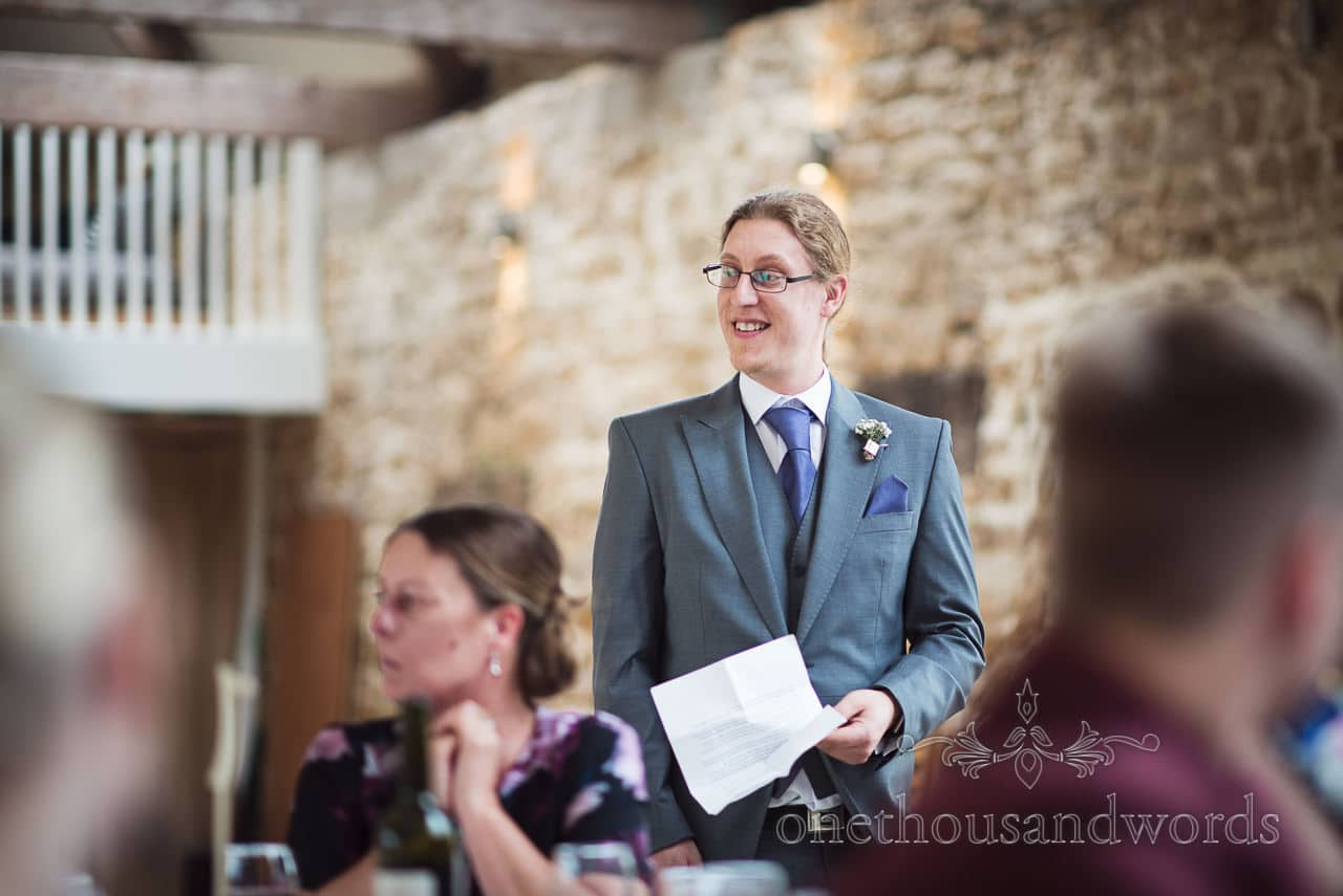 Brides brother delivers speech at Tithe Barn Symondsbury Wedding