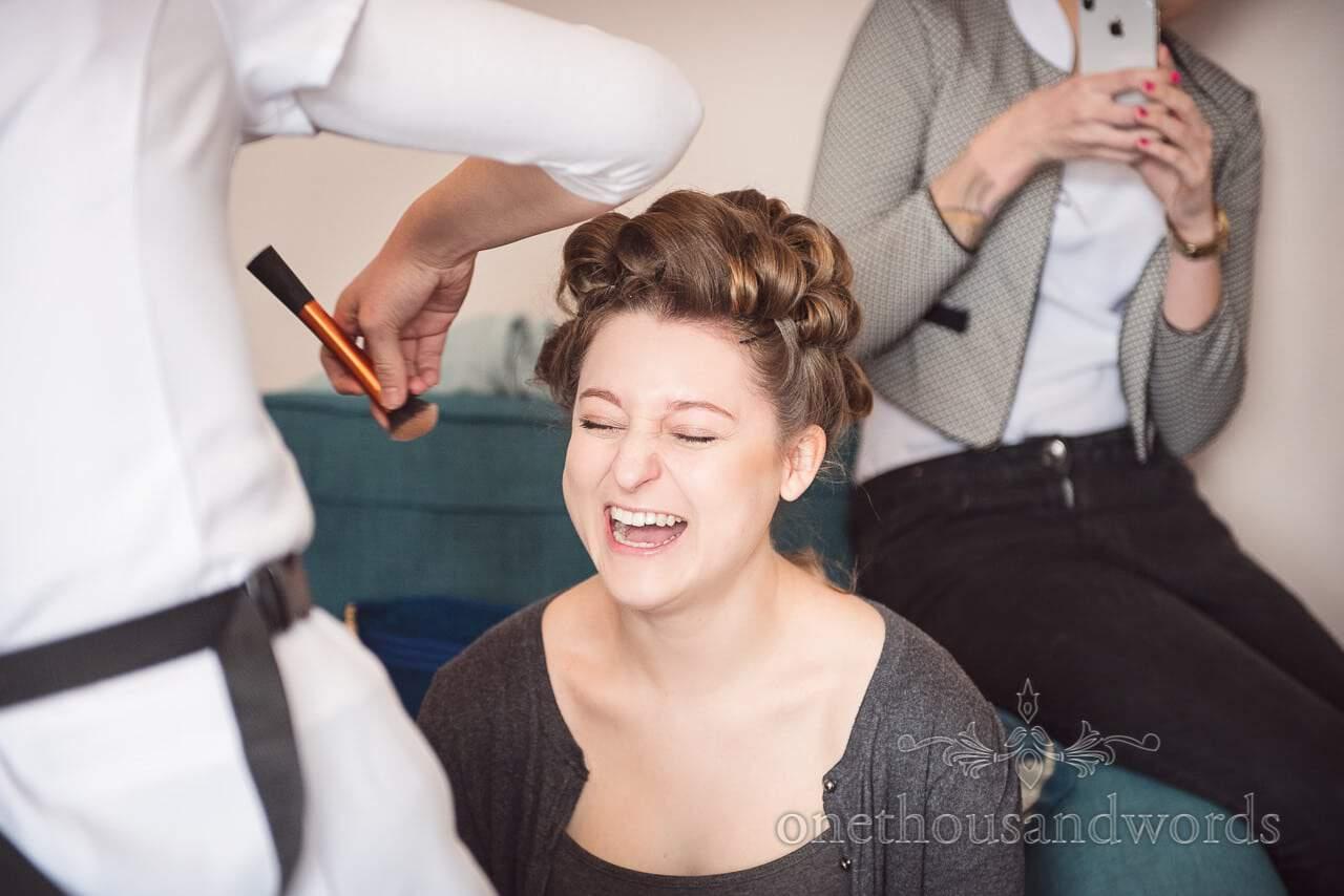 Bridesmaid has make up styled Tithe Barn Symondsbury Wedding