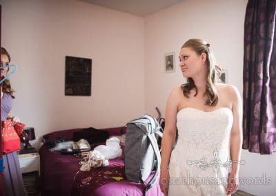 Bridesmaid sees bride morning of Tithe Barn Symondsbury Wedding