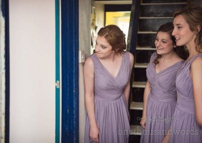 Bridesmaids look for bride morning of Tithe Barn Symondsbury Wedding