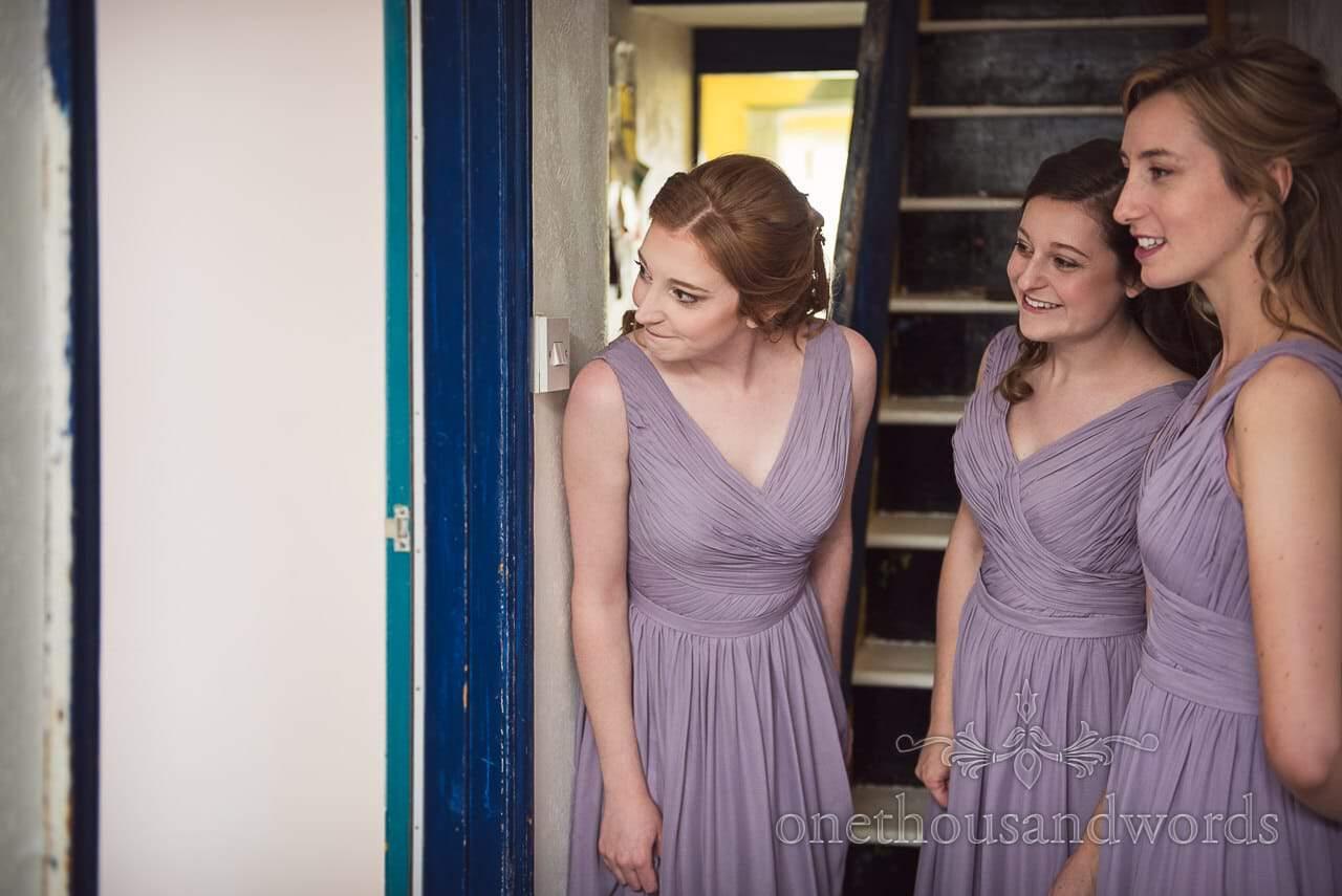 Bridesmaids look for bride morning of Tithe Barn Symondsbury Wedding