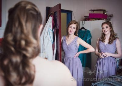 Bridesmaids sees bride morning of Tithe Barn Symondsbury Wedding