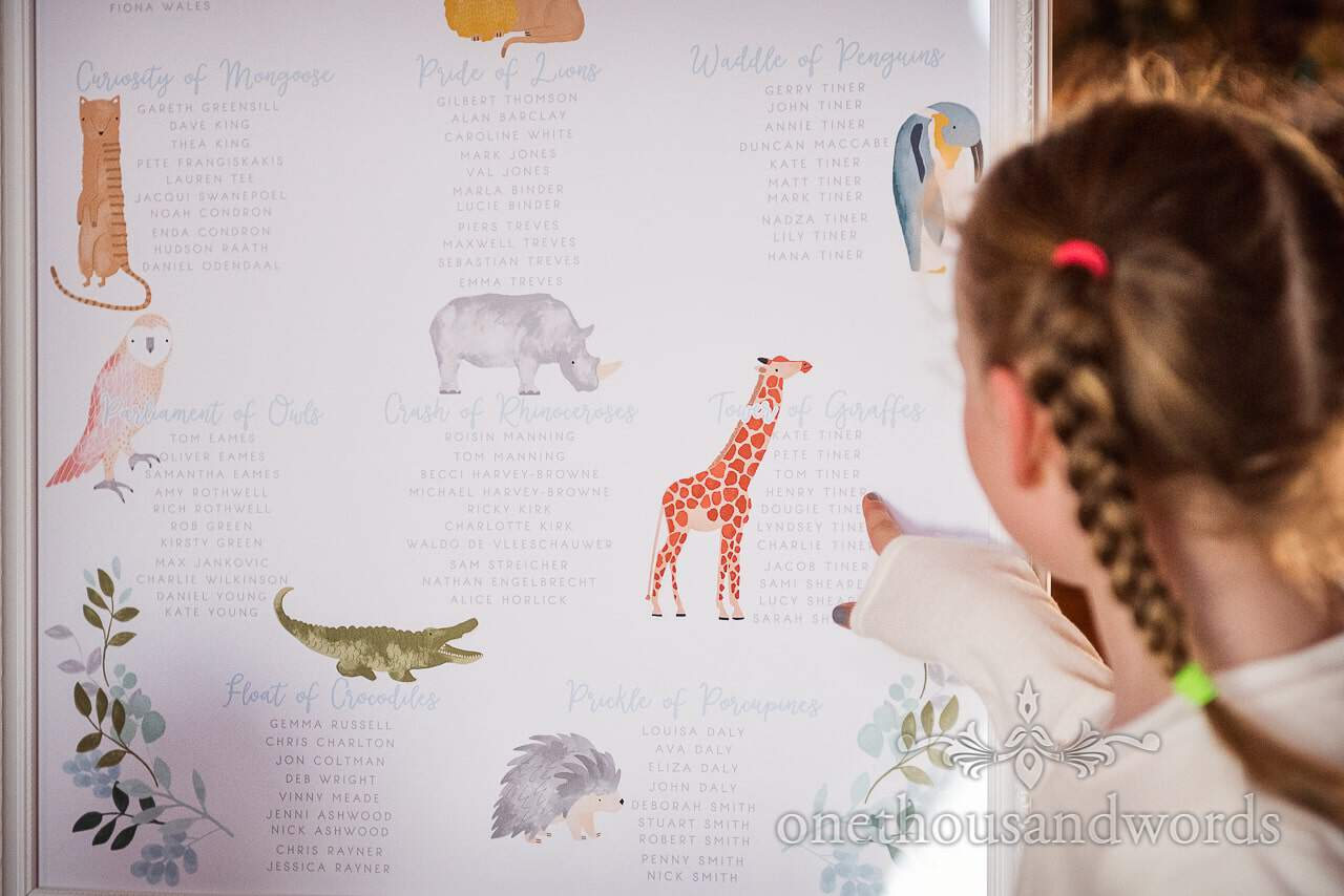 Child wedding guest points at her name on an animal themed wedding table plan