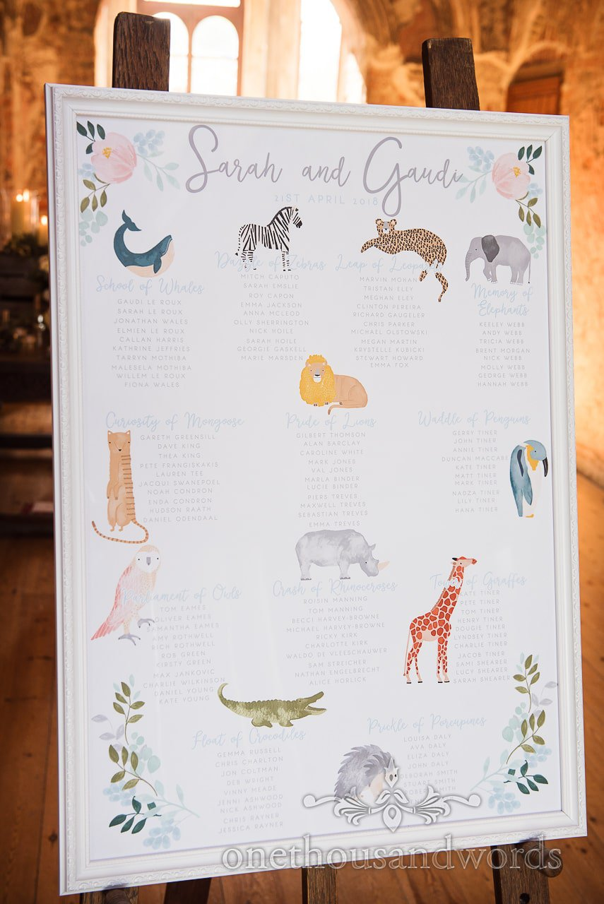 Collective animal nouns wedding table plan at Lulworth Castle Wedding venue