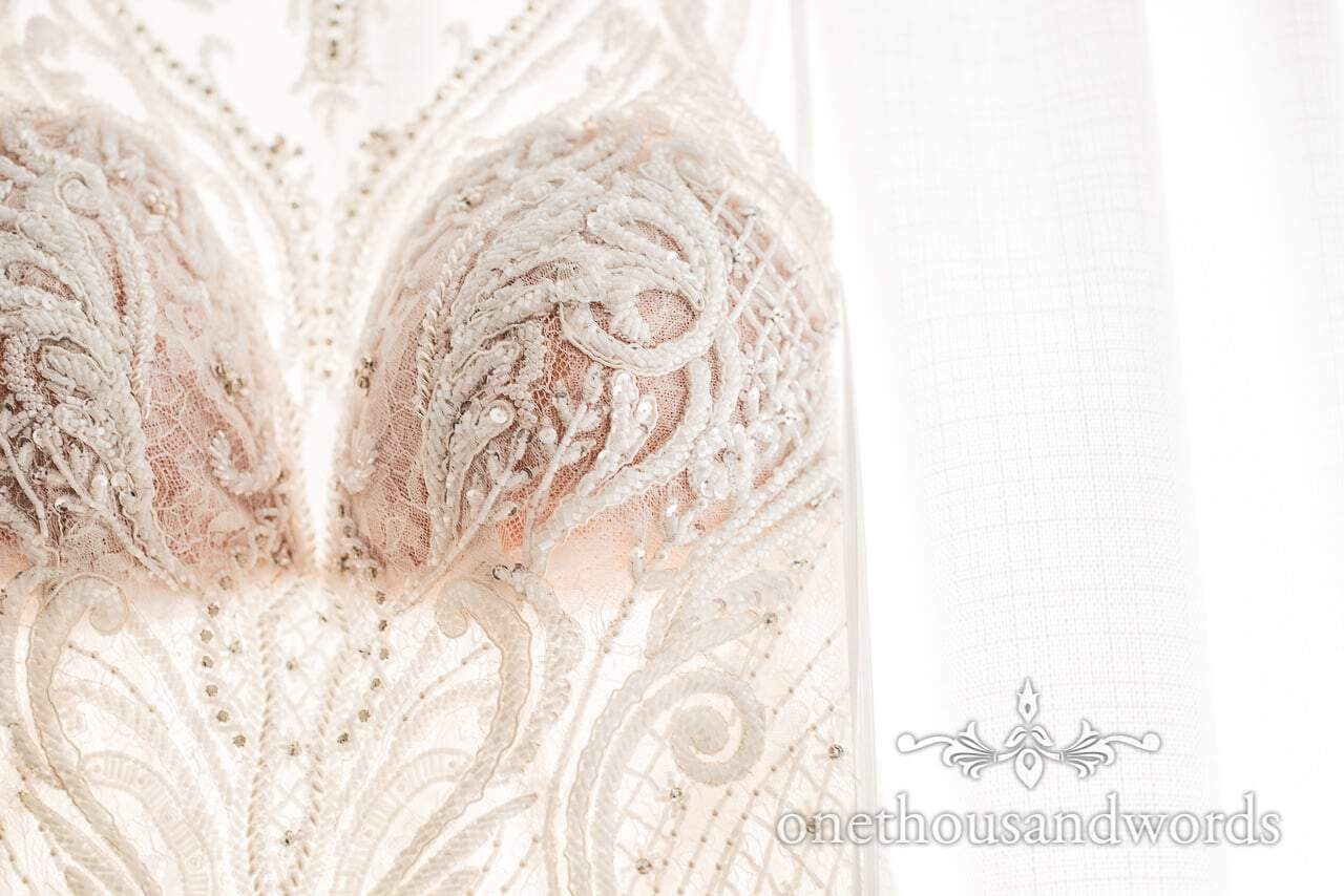Detail from bodice of wedding dress from Lulworth Castle Wedding Photos