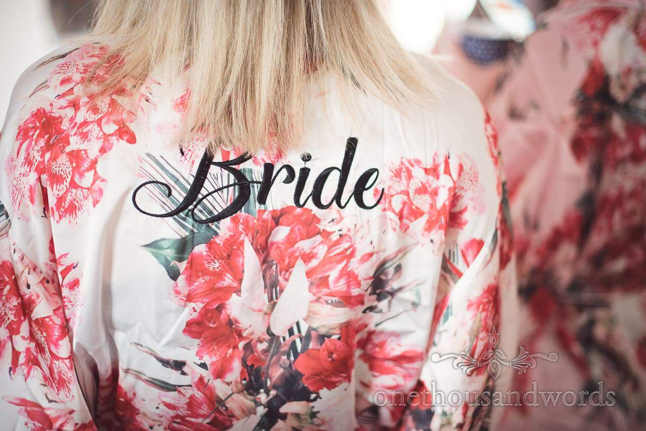 Floral pattern bridal dressing gown from Lulworth Castle Wedding Photos