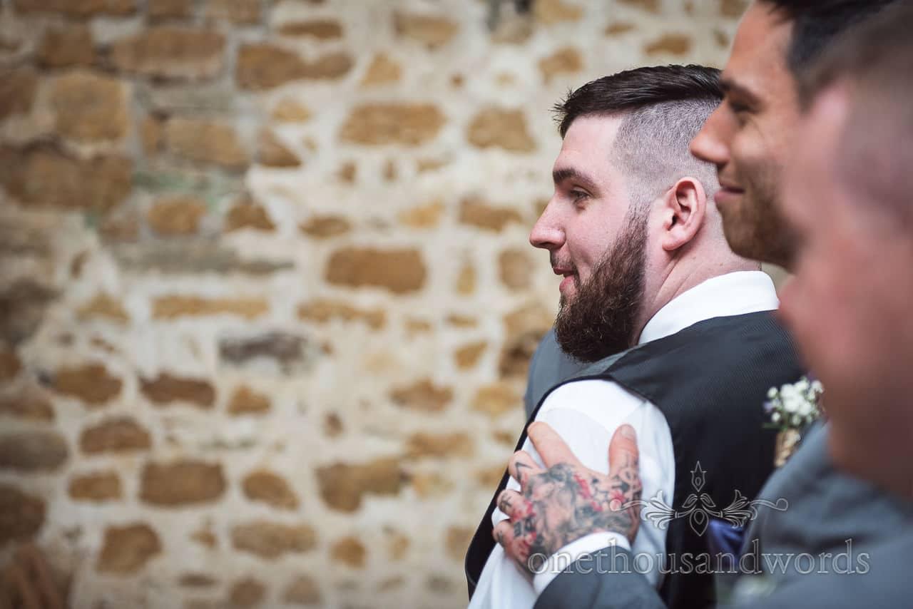 Groom gets a bit emotional at at Tithe Barn Symondsbury Wedding