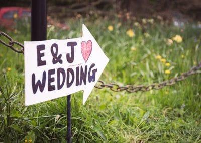 Handmade wedding sign for Tithe Barn Symondsbury Wedding