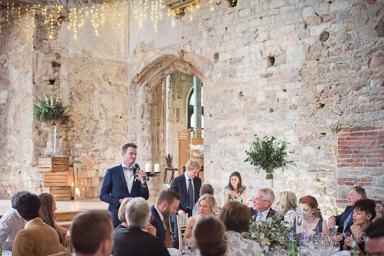 Lulworth Castle Wedding Photos of best man making best man's speech