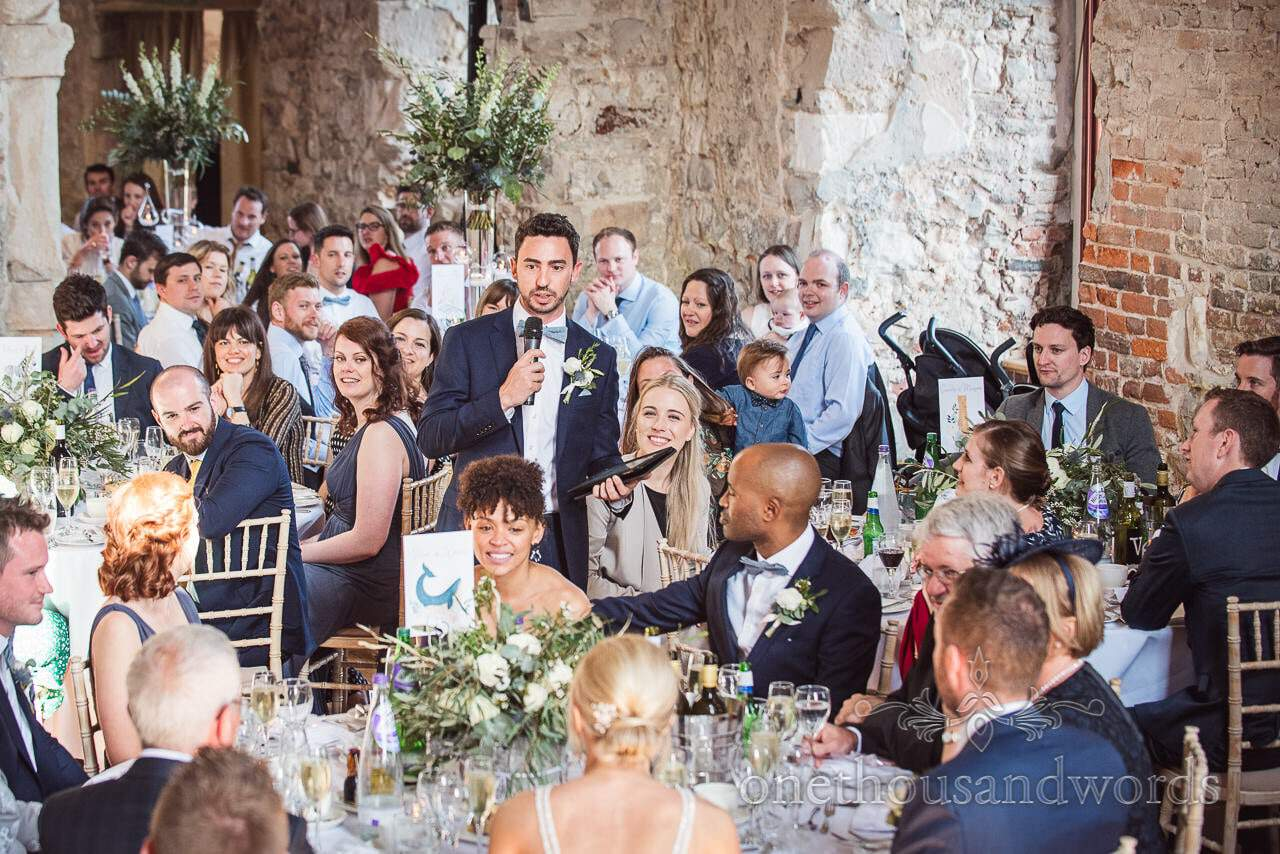 Master of ceremonies introduces speeches at Lulworth Castle Wedding venue
