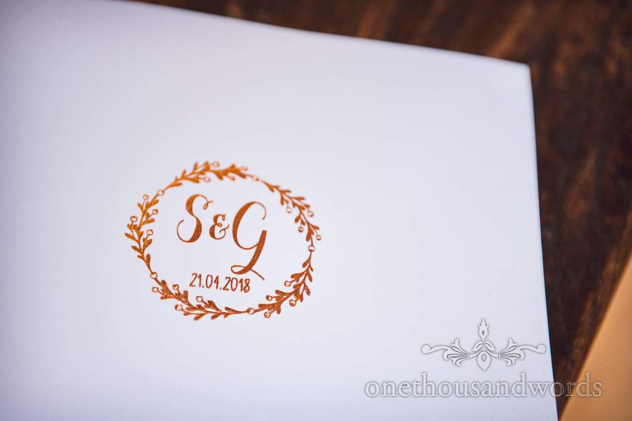 Monogrammed signing book from Lulworth Castle Wedding Photos