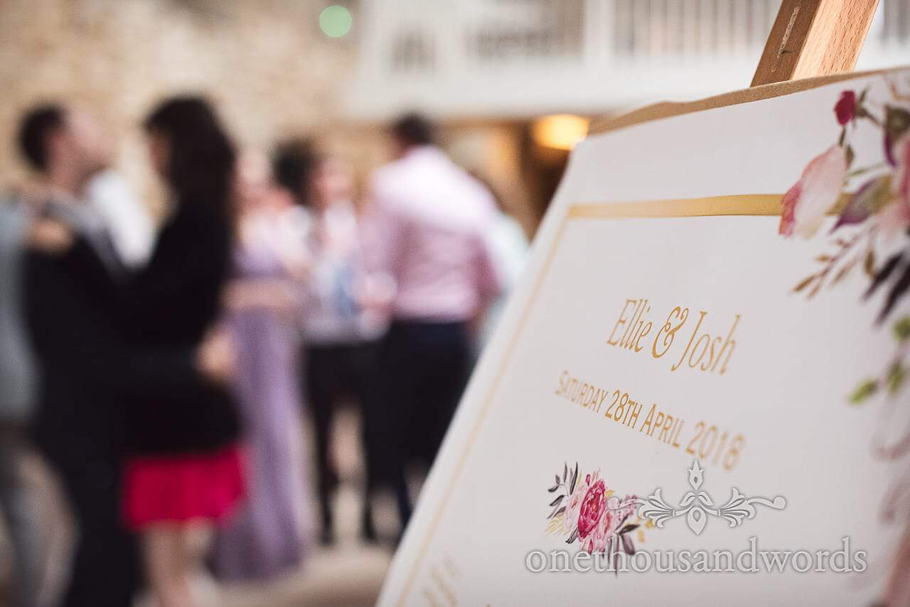 Personalised table plan from the Tithe Barn Symondsbury Wedding